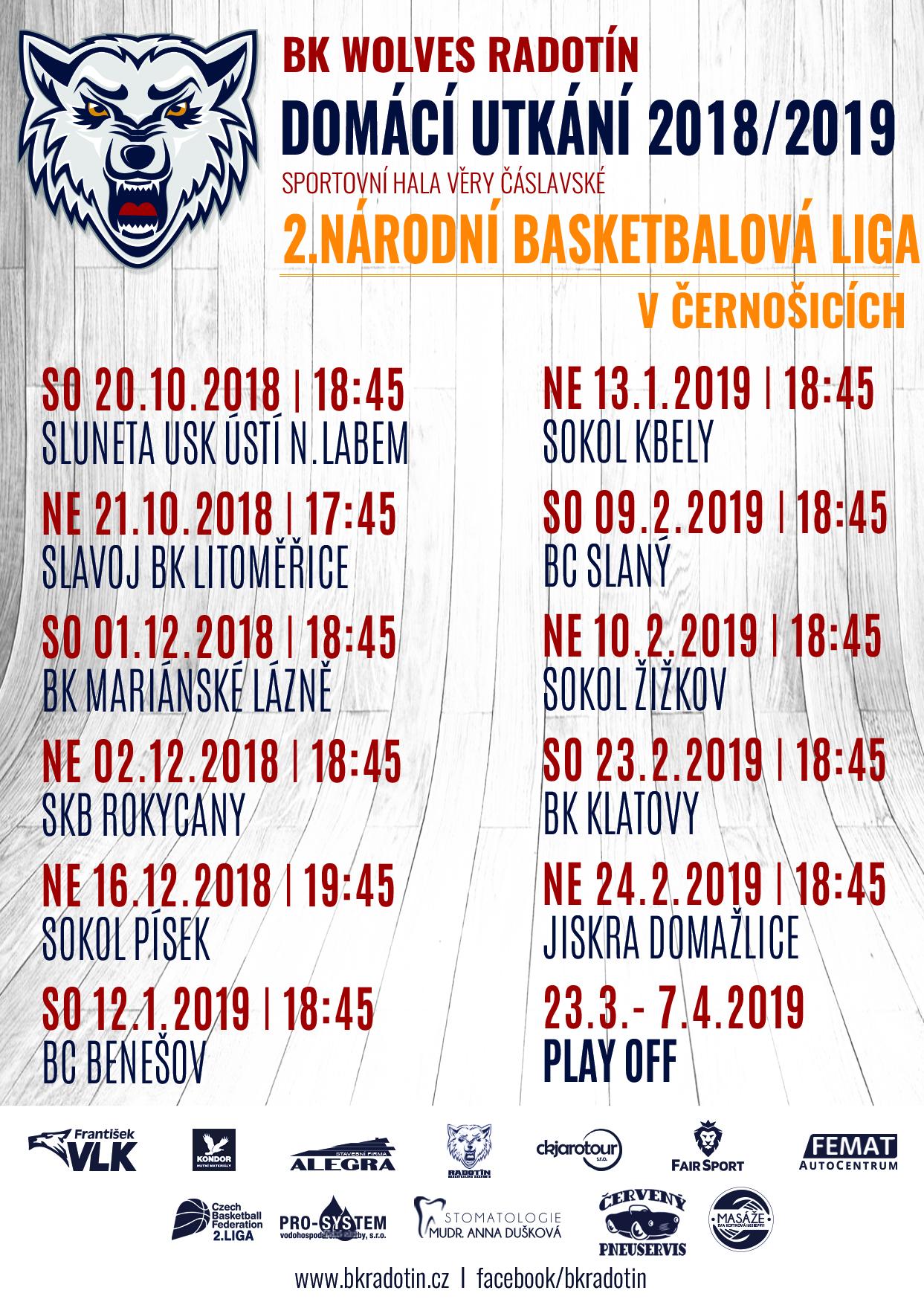 Domácí utkání v Černošicích 2018/19